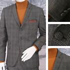 Gibson London Slim Fit Three Button 2 Piece Mod Slim Fit Overcheck Suit Grey
