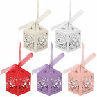 10/50/100 Love Heart Laser Cut Candy Gift Boxes With Ribbon Wedding Party Favor