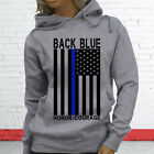 THIN BLUE LINE FLAG OFFICER BLACK POLICE COURAGE Womens Gray