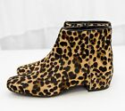Nine West Ankle Boots Huggins Leopard Print Cow Fur Heels 5 5.5 6 6.5 7 7.5