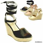 black lace heel - New Women Gladiator Lace Up Wedge Sandals Espadrille Platform High Heel Shoes