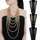 New Fashion Gold Silver Chain CCB Beads Pendant Statement Choker Long Necklace