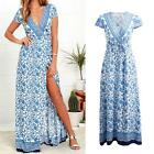 Women V Neck Floral Short Sleeve Dress Boho Maxi Evening Party Long Dress Z5J7