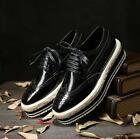 Mens British Lace Up Leather Wingtip Brogues Platform Dress/Casual Oxfords Shoes