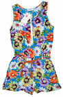 Girls Floral Zipper Playsuit & Rope Belt 3-4 Years SALE