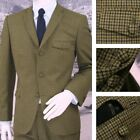 Adaptor Clothing Mod 60's Retro Dogtooth 3 Button Slim Italian Wool Suit Green