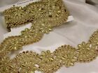 """METALLIC GOLD BEADED TRIM 2"""" WIDE(50MM) Hand Made Remnant  Lengths"""