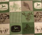 New JOHN DEERE Hand Made Fleece Blanket with a DARK GREEN Crocheted Border