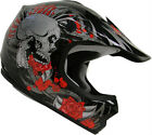 Youth Kids ATV Motocross Dirt Bike MX Off Road Black Rose Skull Helmet S M L