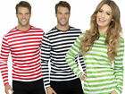 Striped Top T-Shirt Red Black Green Adults Instant Fancy Dress Costume Accessory