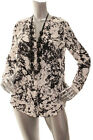 NEW APT.9 Women V-Neck Long Sleeve Button Down Career Blouse Top Ivory BLK S M L