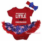Mommy Little Firecracker 2017 Red Bodysuit Blue UK Flag Girl Baby Dress NB-18M