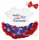 Daddy Little Firecracker Queen Day White Bodysuit Blue UK Flag Baby Dress NB-18M