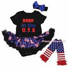 Born In the US 4th July Black Bodysuit USA Flag Girl Baby Dress Leg Warmer 0-18M