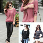Fashion Batwing Women Loose Casual Cotton Long Sleeve T-Shirts Tops Blouse Shirt