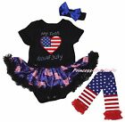 My First 4th July Heart Black Bodysuit USA Flag Girl Baby Dress Leg Warmer 0-18M