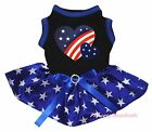 Twin Star Heart 4th July Black Top Blue Patriotic Star Pet Dog Puppy Cat Dress