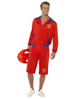 Red Baywatch Beach Lifeguard Beach Party Fancy Dress Costume Jacket And Shorts