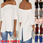 UK Women's Off The Shoulder Casual Loose Short Sleeve Blouse T Shirt Tops Summer