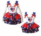 4th July Proud Of US Heart White Top USA Flag Satin Trim Skirt Girls Set NB-8Y