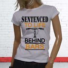 SENTENCED LIFE BEHIND BARS BICYCLE FUNNY WORKOUT Womens White T-Shirt