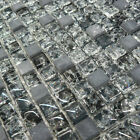 Crackled Glass & Black Marble Squares Mosaic Tiles Sheet For Walls And Floors