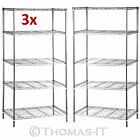 5 Tier Metal Chrome Kitchen Garage Storage Shelving Shelf Wire Rack Racking <br/> LIFETIME WRNTY✔Sturdy &amp; Rust Resistant✔40KG Each Layer