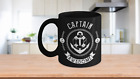 Captain Awesome Black Coffee Mug Gift for Sailor