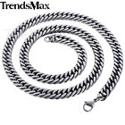 8/10mm Mens Chain Boys Necklace Silver Stainless Steel Cut Curb Cuban Rombo Link