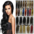 "All Colors 18""-32"" Keratin Nail U-Tip Human Hair Extensions Straight Curly Wavy"