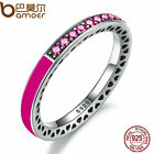 Bamoer Authentic S925 Sterling Silver Ring With Radiant Orchid Enamel Cerise CZ