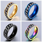 1x Titanium Stainless Steel Unisex Ring With Chain Charms Men Jewelry Size 7-13