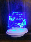 Personalized 2 Butterflies Butterfly Wedding Cake Topper Optional LED Light Base