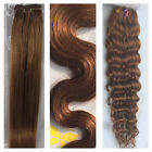 "15""-36"" Remy Human Hair Weft Extensions Straight Deep Wavy #30 Auburn Brown 100g"