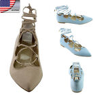 US SHIP Women Gladiator Ballet Flats Bootie Mules Strappy Lace Up Cut Out Shoes
