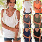 Summer Women's Oversized Cold Shoulder Blouse Batwing Lace-Up Back T-shirt Top