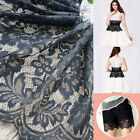 1PC Lace Fabric Black Tulle Small Floral Cotton Embroidered Bridal 28*300cm