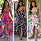 US SHIP Women's Summer Long Maxi Floral Sleeveless Dress Chiffon Beach Dresses
