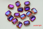 100 PCS 8mm x 10mm Glass Rainbow Color Faceted Glass Rectangle Jewels