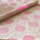 Dahlia Flowers Fuchsia Pink Patterned Kraft Brown Wrapping Paper 5 or 10 mtrs