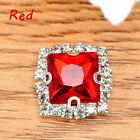 10Pc 8mm Square Button Crystal Sew On D-Claw Rhinestone For Dress Bag Decoration