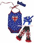 Queen Day UK Flag Heart Star Halter Neck Baby Bodysuit Leg Warmer Shoes NB-18M