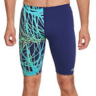 Zoggs Mens Wired Swimming Swim Aquashorts Jammers Shorts - Green / Blue