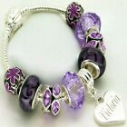 ENGRAVED Bracelet Purple Charm Beads Womans Girls Personalised Jewellery Gifts