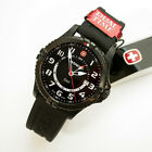 NEW $350 GENTS WENGER 43MM BLACK SS WHITE DIAL 100M WR SQUADRON GMT WATCH #77073