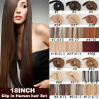 NEW 18inch 70g 7pcs Human Hair Set 100% Remy Clip In Human Hair Extensions