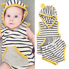 Toddler Newborn Baby Girls Clothes Striped Hooded T-shirt Tops+Pants Outfits Set