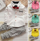 2pcs Toddler Newborn Baby Boy Long Sleeve Shirt Tops+Pants Trousers Outfit Set