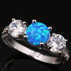 Blue Fire Opal Cheerful White Topaz Fashion Silver Rings Size 6 7 8 9 T1050