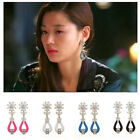 Fashion Earrings Silver Plated Flower Crystal Ear Stud Elegant Party Gift BKB